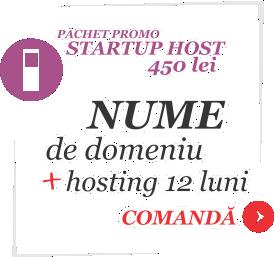 Oferta specială web hosting: Pachet Startup HOST - 450 lei - achiziționare nume de domeniu + hosting 12 luni